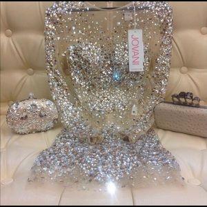 Jovani crystal nude dress